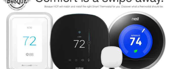 Image of three different smart thermostats—Nest, ecobee, and Honeywell